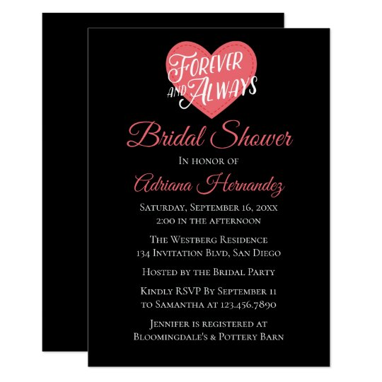 Pink And Black Bridal Shower Heart Love Wedding Card