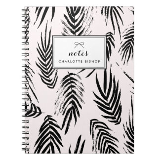 Pink and Black Brush Palm Leaves Pattern Custom Spiral Notebook