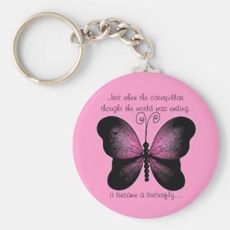 Pink and Black Butterfly Quote Key Chain