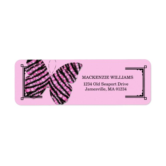 Pink and Black Butterfly Return Address Labels