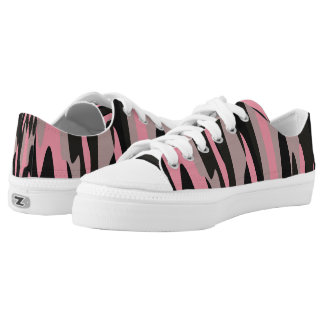 Pink and Black Camouflage Abstract Printed Shoes
