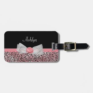 Pink and Black Cheetah Print Cute Bow With Name Luggage Tag