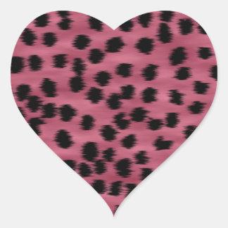 Pink and Black Cheetah Print Pattern. Heart Sticker