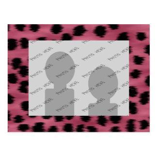 Pink and Black Cheetah Print Pattern. Postcard