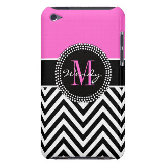 Pink and Black Chevron Monogram Elegant Case-Mate iPod Touch Case