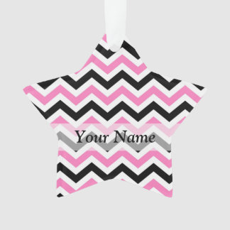 Pink and black chevron pattern ornament