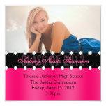 Pink and Black Chic Diamond Graduation Invite