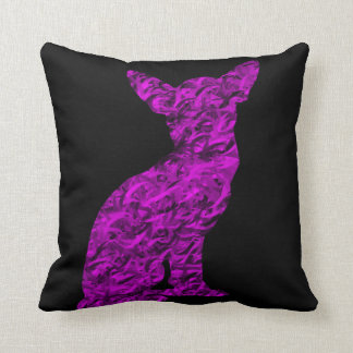 Pink and Black Chihuahua Silhouette Cushion