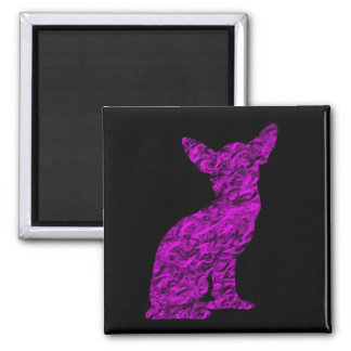 Pink and Black Chihuahua Silhouette Magnet