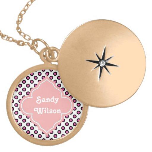 pink and black circle polka dots monogram necklace
