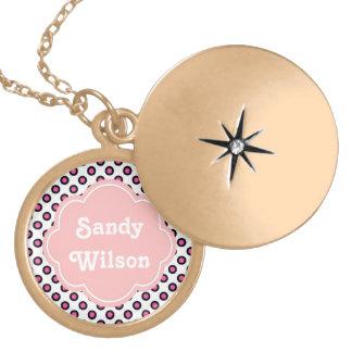 pink and black circle polka dots monogram locket