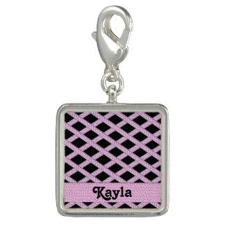 Pink and black crisscross monogram charm