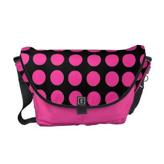 Pink and Black Custom Polka Dot Messenger Bag