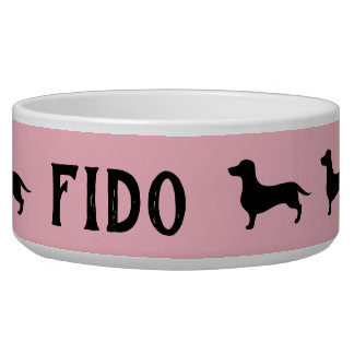 Pink and black dachshund silhouette pet bowl