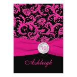 Pink and Black Damask 30th Birthday Invitation