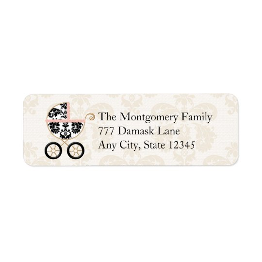 Pink and Black Damask Baby Carriage Return