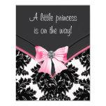 Pink and Black Damask Baby Shower 11 Cm X 14 Cm Invitation Card