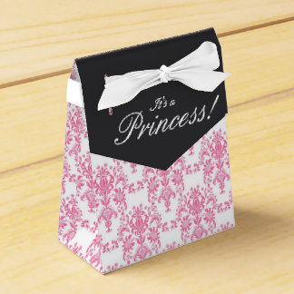 Pink and Black Damask Baby Shower Favour Box