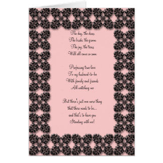 Pink and black damask Be my bridesmaid card