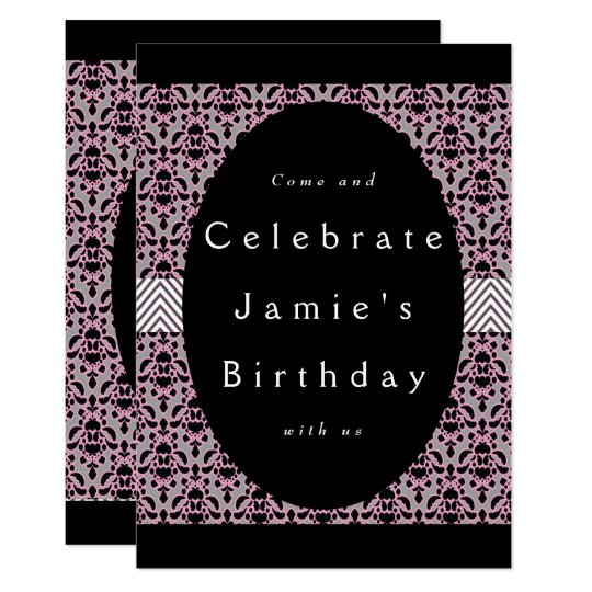 Pink and Black Damask Birthday Card