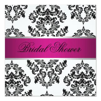 Pink and Black Damask Bridal Shower 13 Cm X 13 Cm Square Invitation Card