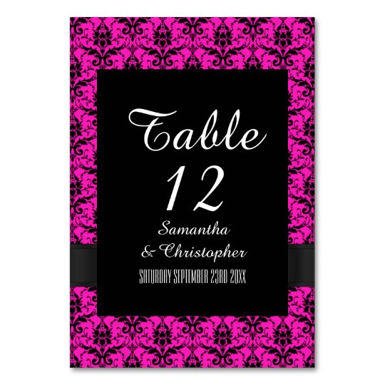 Pink and black damask card