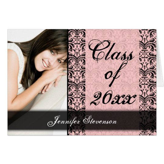 Pink and Black Damask Chic Graduation Annoncement Card