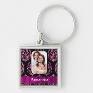 Pink and black damask keychains