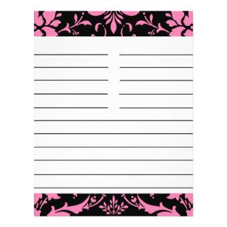Pink and Black Damask Matching Recipe Paper 21.5 Cm X 28 Cm Flyer