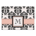 Pink and Black Damask Monogrammed Note Cards