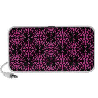 Pink and Black Damask Pattern Mp3 Speaker