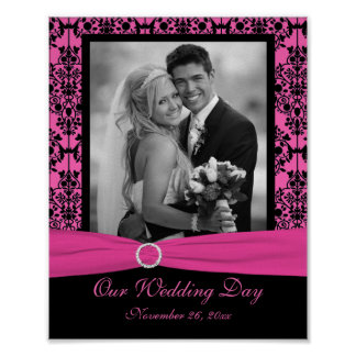 Pink and Black Damask Photo Frame Insert Poster