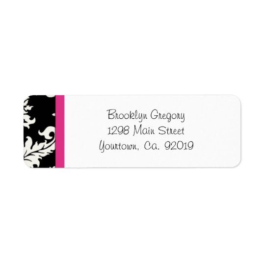 Pink and Black Damask Return Address Label