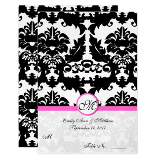 Pink and Black Damask Swirls Place Cards