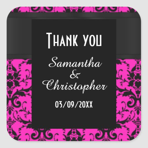 Pink and black damask thank you stickers