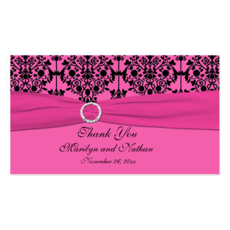 Pink and Black Damask Wedding Favor Tag Business Card Templates