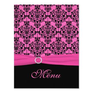 Pink and Black Damask Wedding Menu Card 11 Cm X 14 Cm Invitation Card