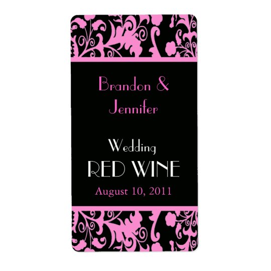 Pink and Black Damask Wedding Mini Wine Labels