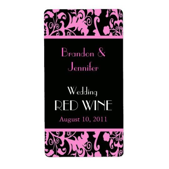 Pink and Black Damask Wedding Mini Wine Labels