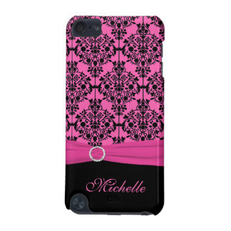 Pink and Black Damask with Faux Ribbon iPod Touch iPod Touch 5G Covers