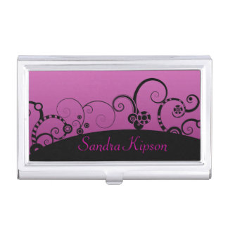 Pink and Black Decorative Business Card Holder