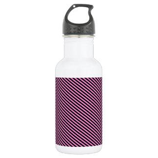 Pink and Black Diagonal Stripes 532 Ml Water Bottle
