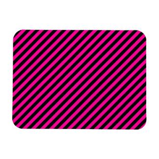 Pink and Black Diagonal Stripes Flexible Magnet