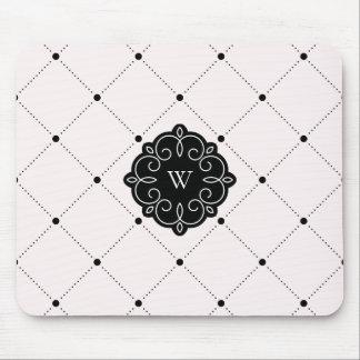Pink and Black Diamond Dots Pattern Monogram Mouse Mat