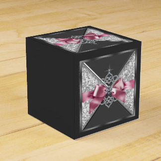 Pink and Black Diamond Sweet 16 Favour Box