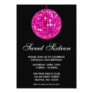Pink and Black Disco Ball Sweet Sixteen Birthday 13 Cm X 18 Cm Invitation Card