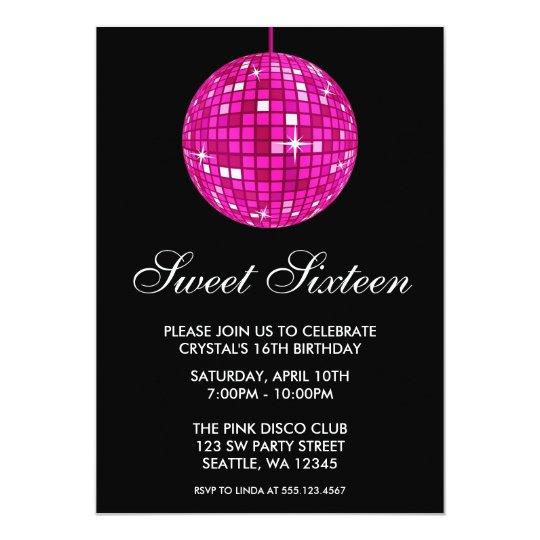 Pink and Black Disco Ball Sweet Sixteen Birthday
