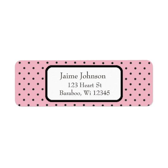 Pink and Black Dots  Return Address Sticker
