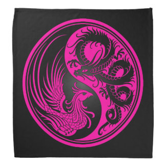 Pink and Black Dragon Phoenix Yin Yang Kerchiefs