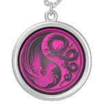 Pink and Black Dragon Phoenix Yin Yang Custom Jewelry